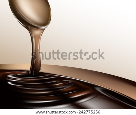 Liquid chocolate dripping from a spoon. Vector eps 10 - stock vector