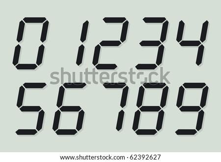 Liquid crystal digital numbers - stock vector