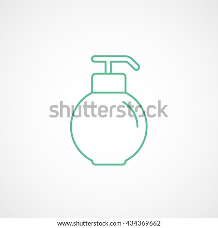Liquid Soap Green Line Icon On White Background