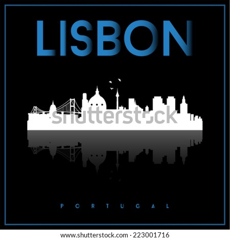 Lisbon, Portugal, skyline silhouette vector design on parliament blue and black background.  - stock vector