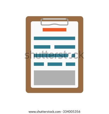 List clipboard icon in flat design isolated on white - stock vector