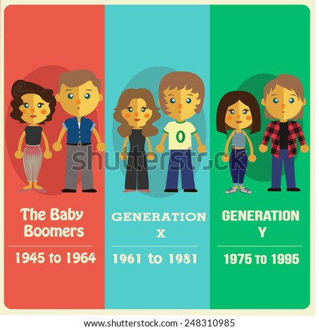 List Generation Baby Boomer Generation X Stock Vector