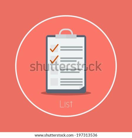 "List : Vector ""clipboard"" icon flat design - stock vector"