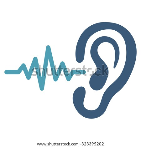 Listen vector icon. Style is bicolor flat symbol, cyan and blue colors, rounded angles, white background. - stock vector
