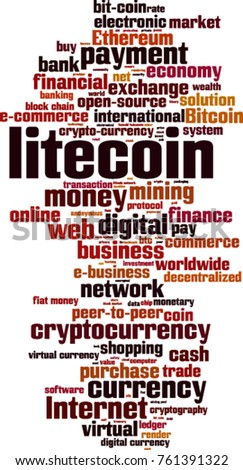 Litecoin word cloud concept. Vector illustration