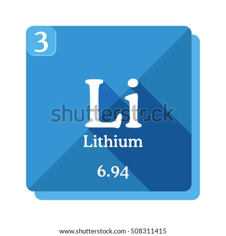 lithium chemical element periodic table of the elements lithium icon on blue background