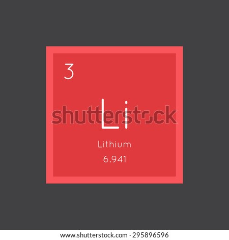 Lithium simple style tile icon. Chemical element of periodic table. Vector illustration EPS8 - stock vector