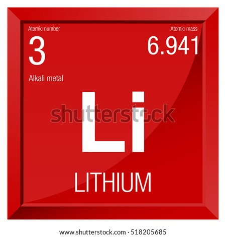 Lithium Symbol Element Number 3 Periodic Stock Vector 2018