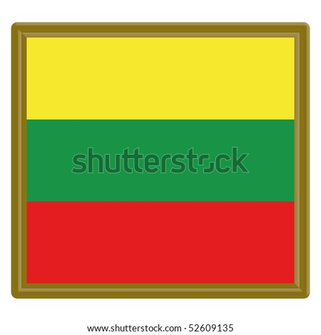 Lithuania flag with gold frame - stock vector