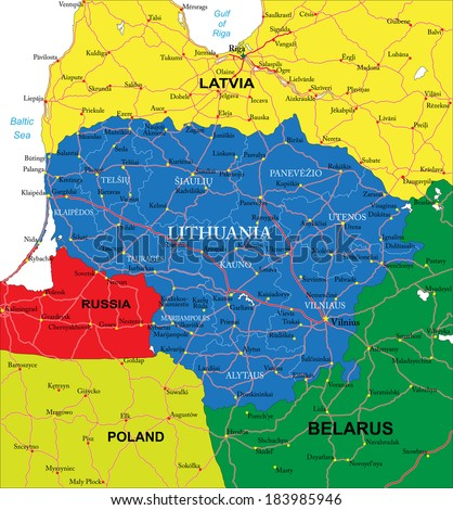 Lithuania map - stock vector