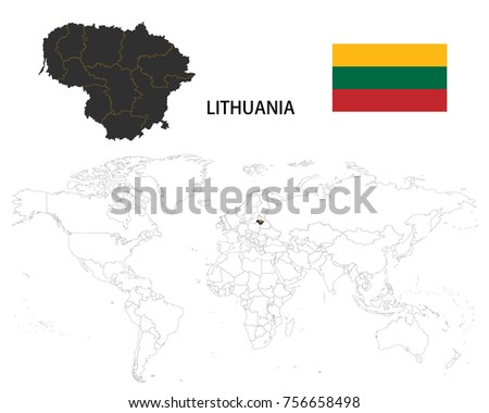 Lithuania map on world map flag stock vector 756658498 shutterstock lithuania map on a world map with flag on white background gumiabroncs Gallery