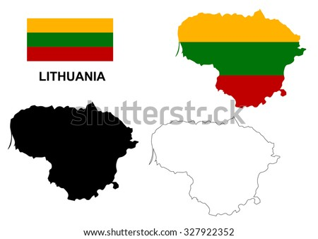 Lithuania map vector, Lithuania flag vector, isolated Lithuania - stock vector
