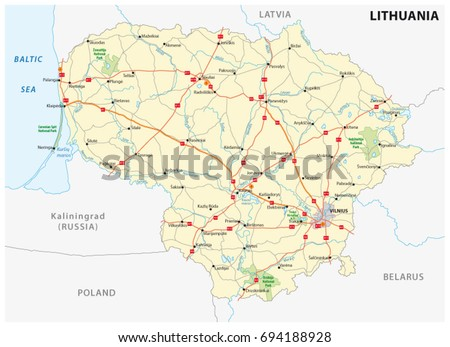 Lithuania Road National Park Map Stock Vector 694188928 Shutterstock