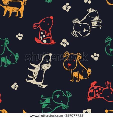 litte dogs pattern design - stock vector