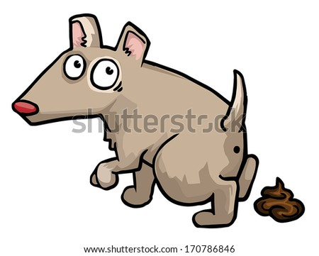 Littering dog with a guilty look and a little poo beside him, vector illustration - stock vector