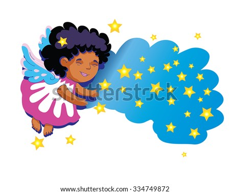 Little angel - cute baby angel vector illustration, isolated on white. African angel. Christmas angel with cold stars and blue cloud. Cartoon angel with smile.  As page decoration, for x-mas design. - stock vector