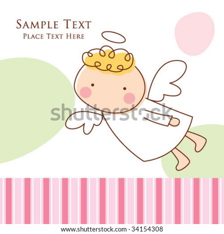 little angel greeting - stock vector