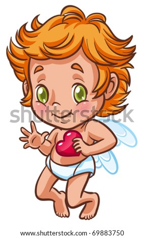 Little angel holding heart in hand - stock vector