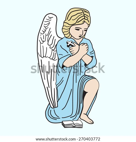 Little angel is praying. Vector illustration, icon, element for design. - stock vector