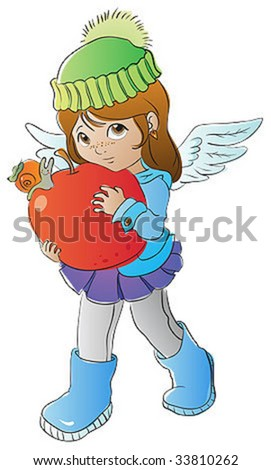 Little angel with big apple - stock vector