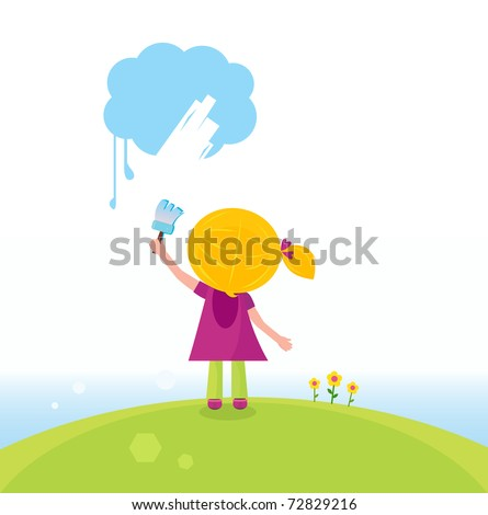 Little artist kid painting on the sky in spring nature. Vector - stock vector