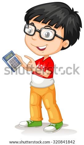 Little asian boy using calculator illustration - stock vector