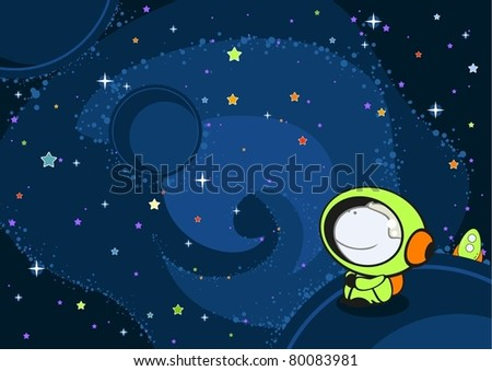 Little astronaut in an open space - stock vector