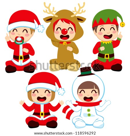 Little babies dressed in adorable Christmas costumes - stock vector