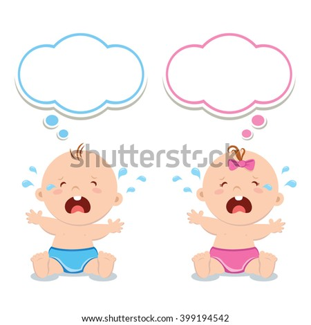 Little baby boy and baby girl crying - stock vector