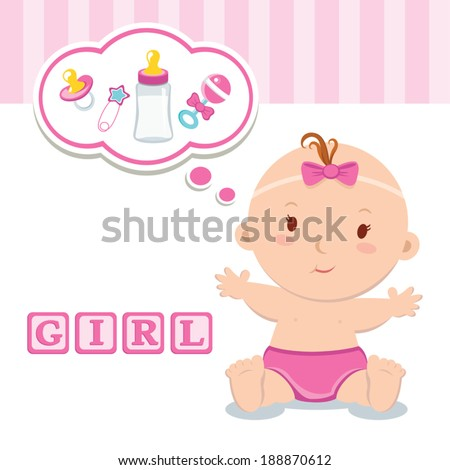 Little baby girl. It's a girl! Beautiful baby girl with thinking bubble. - stock vector