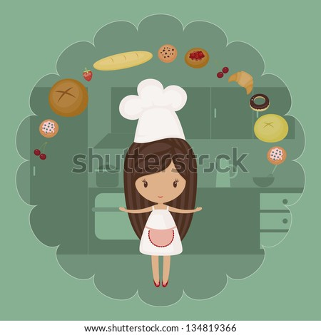 Little baker girl with bakery goods in a kitchen - stock vector