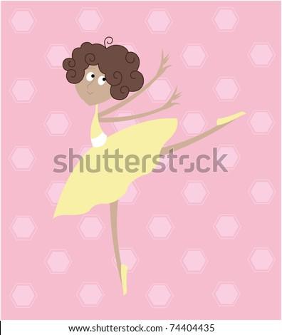 Little Ballerina in Yellow Tutu Dress - stock vector