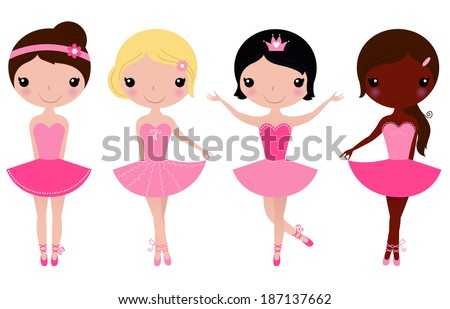 Little beautiful ballerina girls isolated on white ( pink ) - stock vector