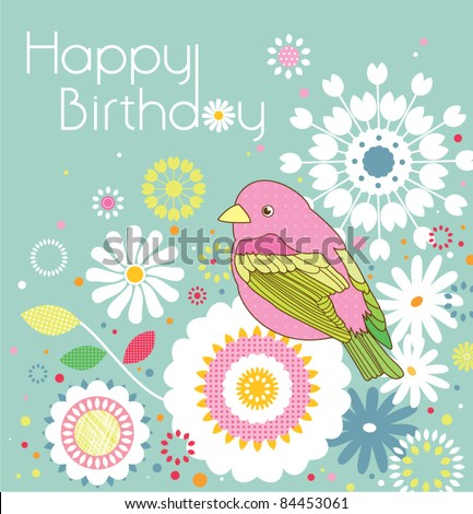 little bird and abstract floral background - stock vector