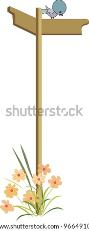 little bird sits on road sign - stock vector