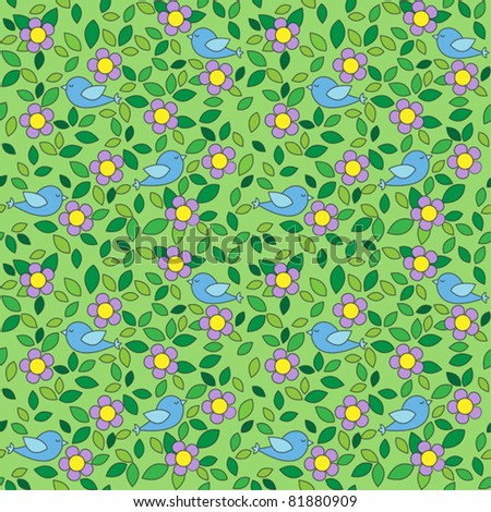 Little birds among flowers and leafs on green background. Seamless pattern. - stock vector