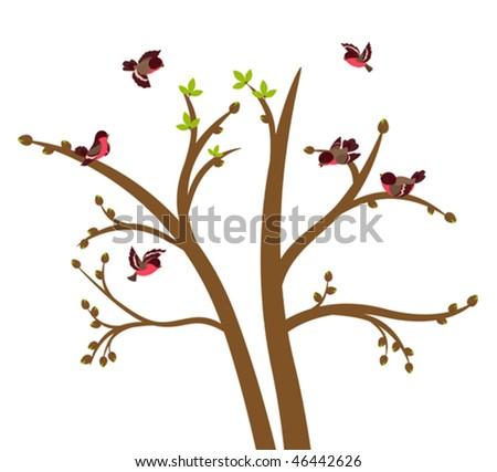 Little birds chirp on spring tree. Vector illustration - stock vector