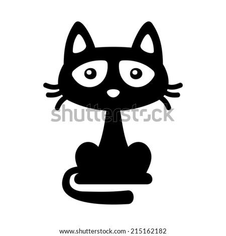 Little Black Cat Icon on White. Cartoon Style Halloween Illustration. Vector illustration - stock vector
