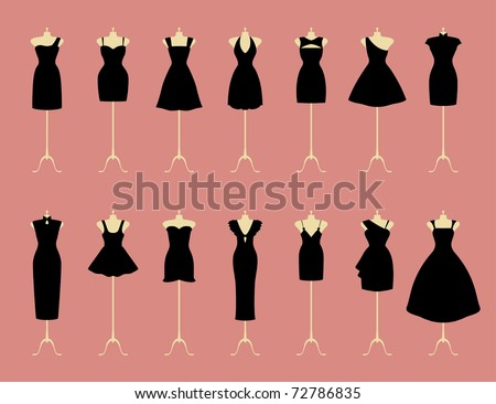 Little Black Dresses - stock vector