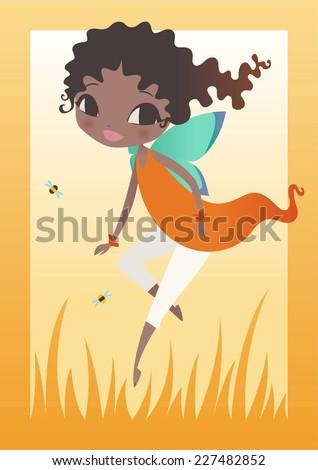 Little black fairy flying vector cartoon illustration. - stock vector