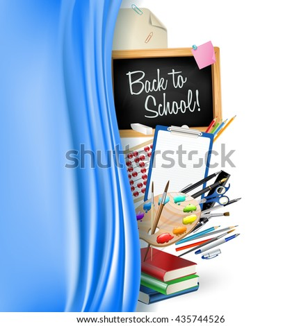 little blackboard border with notepad sheets, color pencils, pens, ruler,art palette, pile of books and silky curtain - stock vector