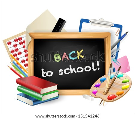 little blackboard with back to school text - stock vector