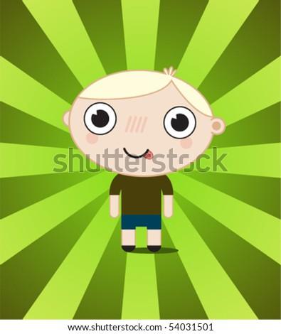 little blond boy - stock vector