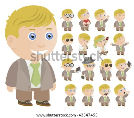 Little Blonde Boy - Multiple Poses - Vector Illustration - stock vector
