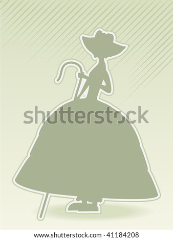 little bo peep green silhouette vector