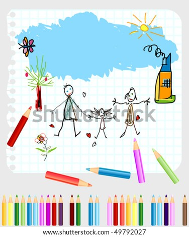 little boy and girl drawing on a note book paper - stock vector