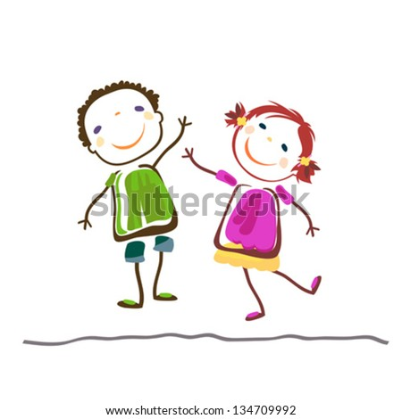 little boy and girl; happy kids - stock vector