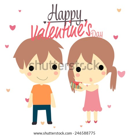 little boy and girl with text happy valentines daycute vector - Boy Valentines