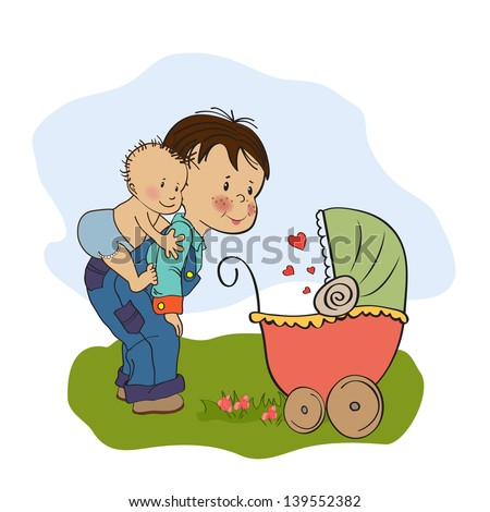 little boy and his baby brother - stock vector