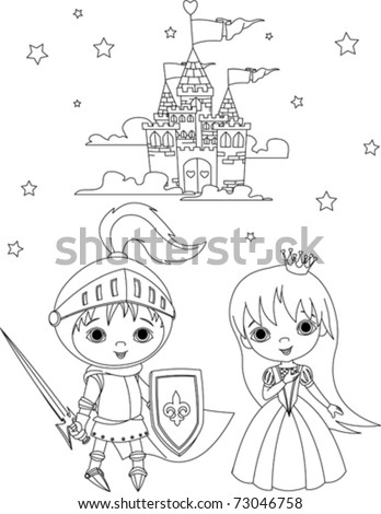 Little boy as a knight and girl as a princess coloring page - stock vector